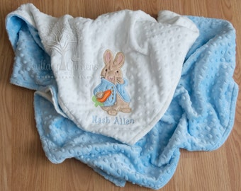 Personalized Baby Gifts, Peter Rabbit Inspired Appliqued Blanket, Baby Boy Blanket, Blue Minky Blanket