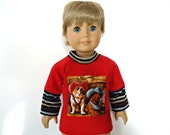 18 inch boy doll shirt layered look red cowboy dogs in hats brown light blue stripes long sleeves