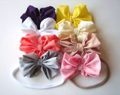 Large Bow Headband - Big Baby Bow Headband - Big Bow Newborn Headband - Messy Bow Headband - Soft Nylon Band - Thin Soft Band