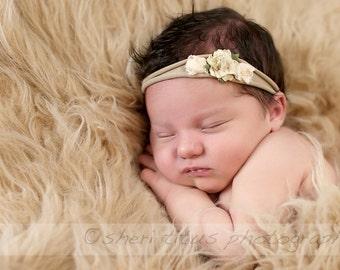 Beige Soft Nylon Baby Headband - Small Flower Headband - Newborn Headband - Ivory Flower - Vintage Look - Soft Headband - One Size