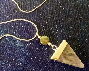 Amethyst and Labradorite Triangle Crystal Point Necklace