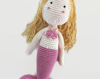Mermaid doll, crochet mermaid doll, mermaid toy, stuffed mermaid, mermaid plush toy, crochet doll, pink mermaid doll, amigurumi toy,