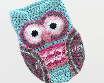 Owl photo prop, owl cocoon, crochet cocoon, newborn photo prop, crochet newborn sack, baby pea pod, crochet cocoon, owl blanket