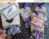 Vintage inspired Halloween Hang Tags - Dyed - set of 4