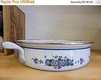 Vintage ASTA Enamelware Large Skillet Pan - Casserole - Cookware Oven Safe - Blue Floral