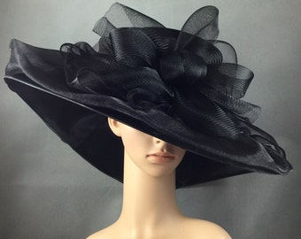 Black Wide Brim Funeral Hat, Kentucky Derby Hat,Church Hat