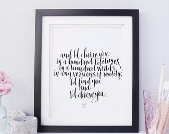 And I'd Choose You   Quotable Art   Romantic Quote   Downloadable   Digital Print   Instant Art
