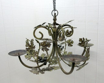 Vintage Chandelier Art Nouveau Wrought Iron 4 Arm Chandelier