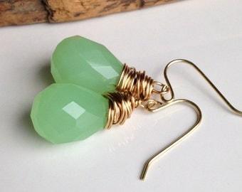 Briolette Earrings, Green Quartz, Cloudy Quartz, Wire Wrapped Earrings, Dangle Earrings, Simple Earrings, Green Earrings