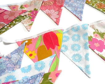 LONGER LENGTH Pretty Bunting Vintage Fabic with 70s pink and blue theme