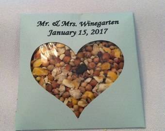 Personalized wedding bird seed favors packets