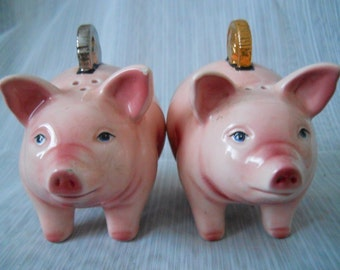 Piggy Bank Salt and Pepper Shakers - vintage, collectible, banks