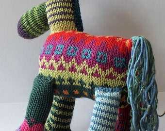 horse, teddy horse, hand knitted horse, cotton