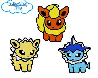 EMBROIDERY FILES: Eeveelution Pokedoll Set 2 (Flareon, Jolteon, Vaporeon) Pokemon - Embroidery Machine Design