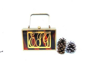 Tyrolean NY Tortoiseshell Lucite Handbag, Brass Lucite Tyrolean Handbag, Monogrammed Lucite Purse