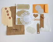 Tag + Embellishment Kit Collection . Kraft Tan . Planner Scrapbooking Mixed Media Mini Album Midori Travelers Notebook Listers 30 Days List