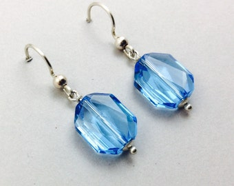 Blue Crystal Earrings In Sterling Silver With Aquamarine Blue Swarovski Crystal Beads