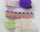 Marikit Designs Ready To Ship Set of 3 hairclips. Flower and Bow