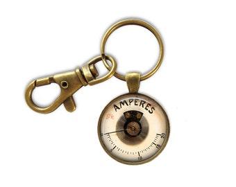 Steampunk Key Ring, Guage Key Ring, Vintage Meter