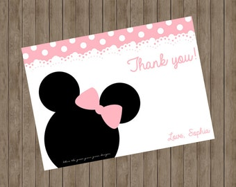 Minnie Mouse Note Cards - Printable