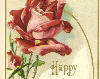 Embossed Red Rose Antique Birthday Postcard 1913 – Beautiful Botanical Card