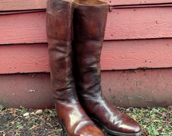Vintage 40s Antique Chocolate Brown Leather Equestrian Riding Boots Mens 10