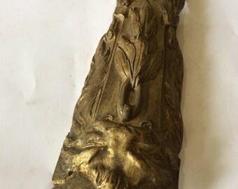 Old Figural Ornate Gilt Brass Applique Decoration - Original Golden Blazin' Butterscotch Patina - Cast Brass Dragon Lion