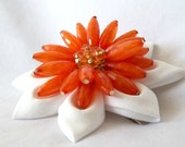 Clematis Inspired Orange and White Beaded Kanzashi Flower Statement Hair Clip