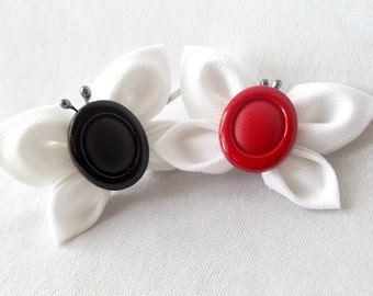 Unique Butterfly Bobby Pins Black White and Red Kanzashi Hair Pins