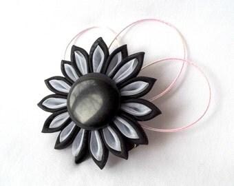 Black and White Organza Kanzashi Hair Flower Fabric Origami Clip