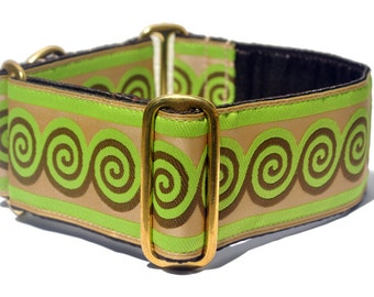 Lime Green and Chocolate Swirl Jacquard Martingale Collar - 2 Inch