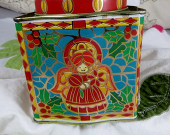 Meister Christmas Tin Box Stained Glass Look Tin Metal Box Angels and Candles from Brazil