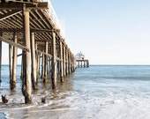 Malibu Pier Photograph, Light Blue Coastal Decor, California, Beach, Seaside, Wooden Pier, Blue White Beach Art, Coastal Living