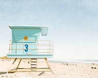 "Huntington Beach California, Lifeguard Tower, Beach Photography, Summer, Blue Aqua Beach Decor, Coastal,  Beach Print ""Huntington Tower"""