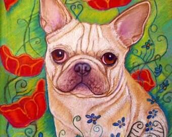 French Bulldog Painting art poppy French Bulldog painting art Poppies Frenchie Original Painting