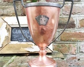 Antique Copper & Pewter Poker or Card Game Trophy