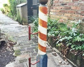 """Antique Wooden 43"""" Barber Pole with Original Paint"""