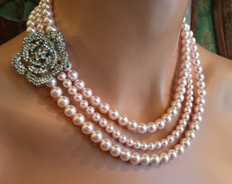 Blush Pearl Necklace with brooch with 3 multi strands Rosaline Swarovski pearls and Earrings pink bridal wedding jewelry or bridesmaid gifts