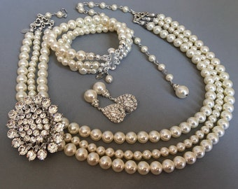 COMPLETE Jewelry Set Pearl Necklace with Long backdrop and Brooch Bracelet Earrings 3 strands Swarovski Pearls