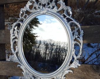 SALE Silver Mirror/ Oval Frame/ Mid Century Modern/ Decorative Wall Mirror/ Hollywood Regency Mirror/ Ornate Mirrors/ Baroque Mirror