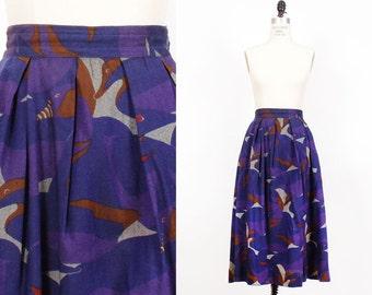 Duck Print Skirt with Pockets XS • 70s Midi Skirt • Wool Skirt • High Waisted Knee Length Skirt   SK442
