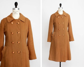 Mod Coat S • Peach Coat AS IS • 60s Coat Small • Double Breasted Coat | O226
