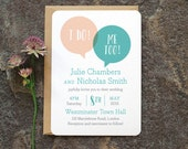 Fun Modern Wedding Invitation / 'Speech Bubble' We Do Minimal Wedding Invite / Blush Nude and Aqua  / Custom Colours Available / ONE SAMPLE
