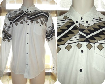 Vintage 80s Mens Shirt | 1980s Button Down Shirt | Southwestern Print | Westerm Rodeo | Size Medium | The RIO