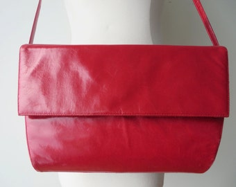 Red Leather Purse/Red Leather Convertible Clutch/Frenchy of California Purse/Red Clutch/Red Purse/Red Leather Shoulder Strap Purse
