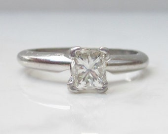 Estate Solid Platinum Solitaire Diamond Engagement Ring, Size 5