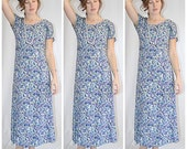 Vintage 1980s Pale Green Purple Lavender Print Rayon Fit and Flare Midi Dress 38 Inch Bust