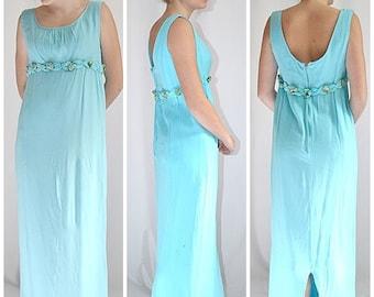 SALE Vintage 1960s Aqua Silk Long Empire Column Sheath Gown Formal With Silk Roses 36 Inch Bust