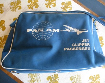 "Vintage PAN AM Jet Clipper Travel Bag AIRLINE Luggage Shoulder Bag Approx. 10"" x 16"" x 5 1/2""  Plane Travel 60's"