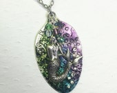 Mermaid Spoon Necklace, Flattened Spoon Pendant, Green, Teal, Purple Patina, Mermaid Jewelry, Steampunk Necklace